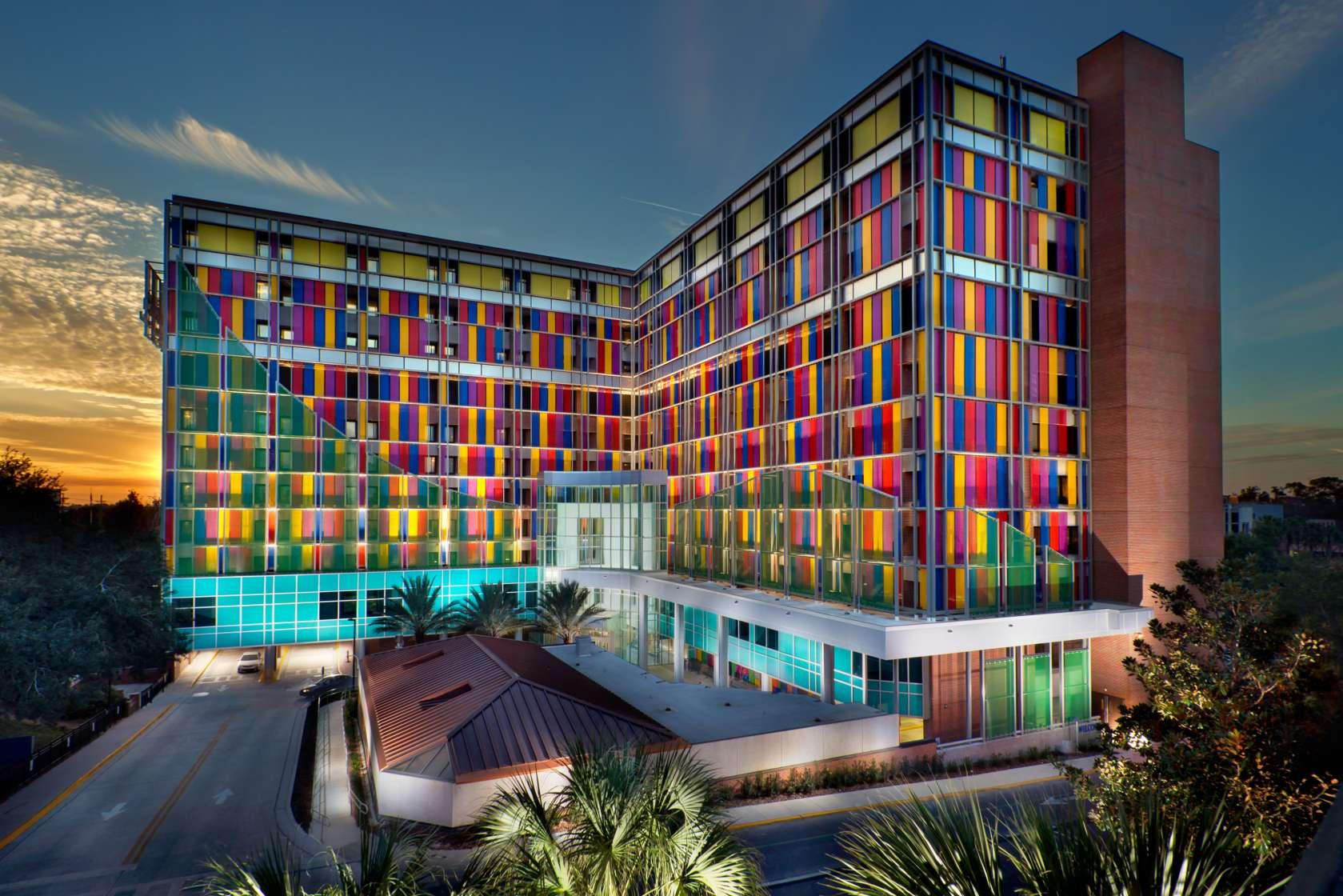 UF Health Shands Children's Hospital at night
