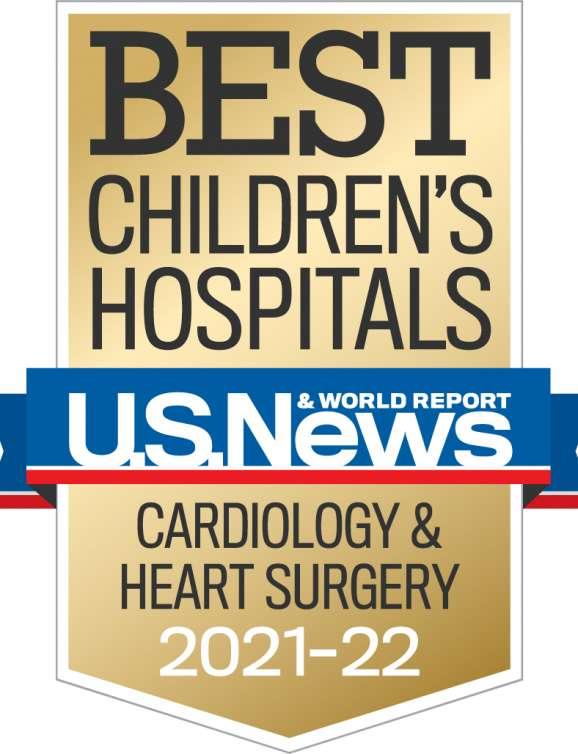 U.S. News Best Children's Hospitals Cardiology Year 2021-2022